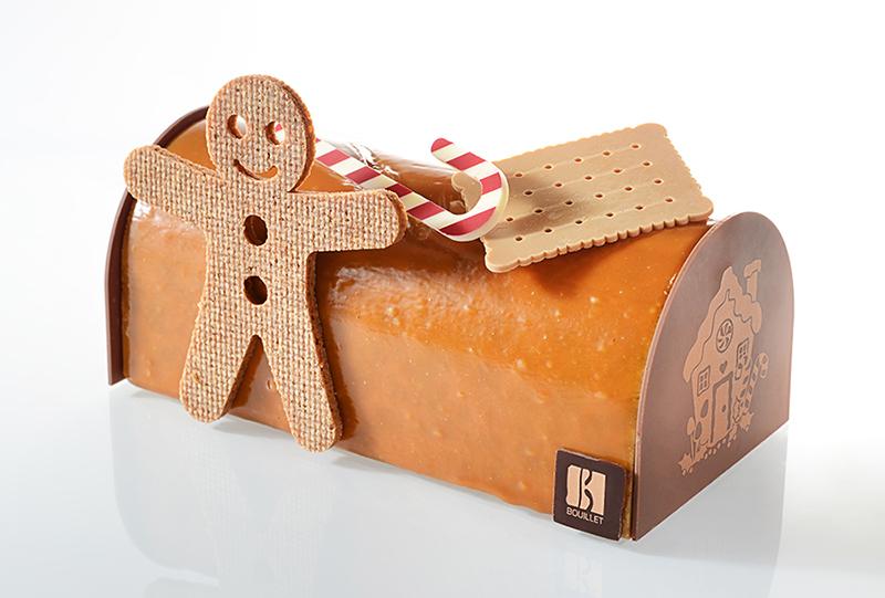Buche de Noel 2020 de Bouillet, Hansel et Gretel marie abricot, chocolat au lait, pain d'épice et noisette