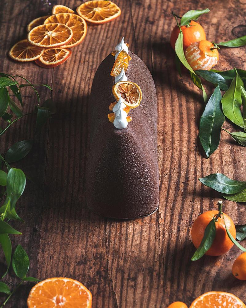 Buche de Noel glacée chocolat orange par Unico