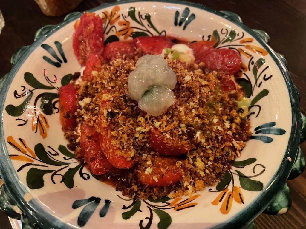 Dessert fraise tomate chez Carmelo à Lyon